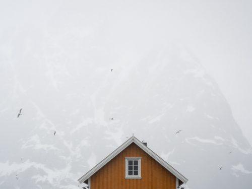 Lofoten house with mountains